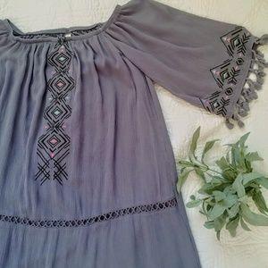 Xhilaration Boho dress,blue/grey,fringe detail,S